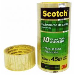 Fita Adesiva Transparente Pvc 3M SCOTCH 45X45m com 4 rolos