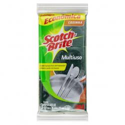 Esponja Multiuso Cozinha SCOTCH-BRITE 3 Unidades Embalagem Econômica