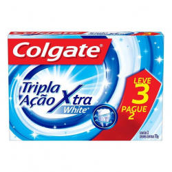 Creme Dental COLGATE Tripla Ação Xtra White 120g Promo Leve 3 Pague 2
