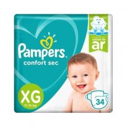 Fralda Descartavel Infantil PAMPERS Confort Sec Tamanho XG com 34 Unidades