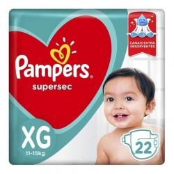Fralda Descartavel Infantil PAMPERS Super Sec Tamanho XG com 22 Unidades