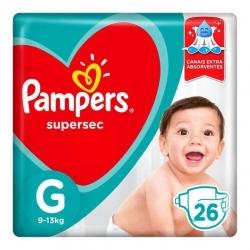 Fralda Descartavel Infantil PAMPERS Super Sec Tamanho G com 26 Unidades