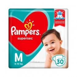 Fralda Descartavel Infantil PAMPERS Super Sec Tamanho M com 30 Unidades
