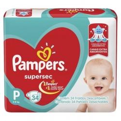 Fralda Descartavel Infantil PAMPERS Super Sec Tamanho P com 34 Unidades