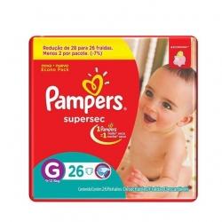 Fralda Descartavel Infantil PAMPERS Super Sec 2 Tamanho G com 26 Unidades