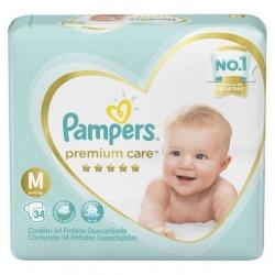 Fralda Descartavel Infantil PAMPERS Premium Tamanho M com 34 Unidades