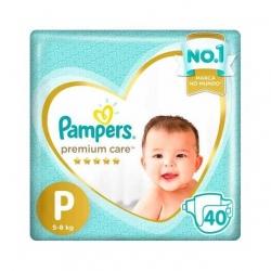 Fralda Descartavel Infantil PAMPERS Premium Tamanho P com 40 Unidades