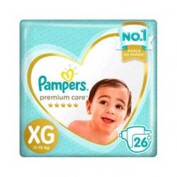 Fralda Descartavel Infantil PAMPERS Premium Tamanho XG com 26 Unidades