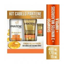 Kit PANTENE Shampoo Força E Reconstrução 400ml + Condicionador 3 Minutos Milagrosos 170ml + Ampola 15ml