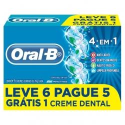 Creme Dental ORAL-B 4 em 1 Anticáries Menta Pague 5 leve 6 70g