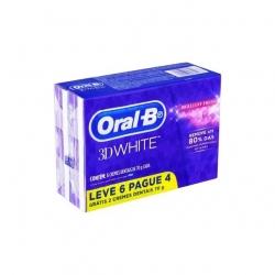Creme Dental ORAL-B 3D White Brilliant Pague 4 Leve 6 70g