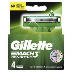 Carga para Aparelho de Barbear GILLETTE Mach 3 Sensitive Cartela com 4 Unidades