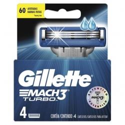Carga para Aparelho de Barbear GILLETTE Mach 3 Turbo Cartela com 4 Unidades