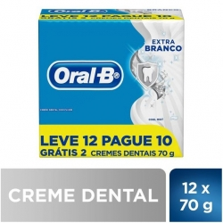 Creme Dental ORAL-B Extra Branco 70G Pague 10 Leve 12 Unidades