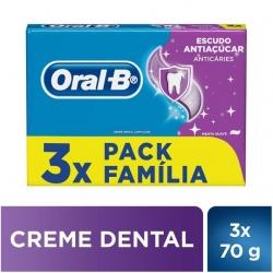 Creme Dental ORAL-B Escudo Antiaçúcar 70g Com 3 Unidades
