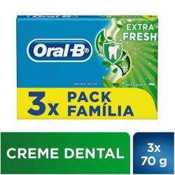 Creme Dental ORAL-B Extra Fresh 70g Com 3 Unidades