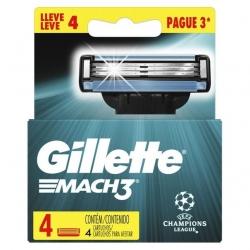 Carga para Aparelho de Barbear GILLETTE Mach 3 Pague 3 Leve 4 Unidades