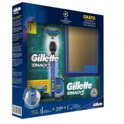 Kit Aparelho de Barbear GILLETTE Mach 3 1 Acqua Grip + 2 Cargas Grátis Espelho